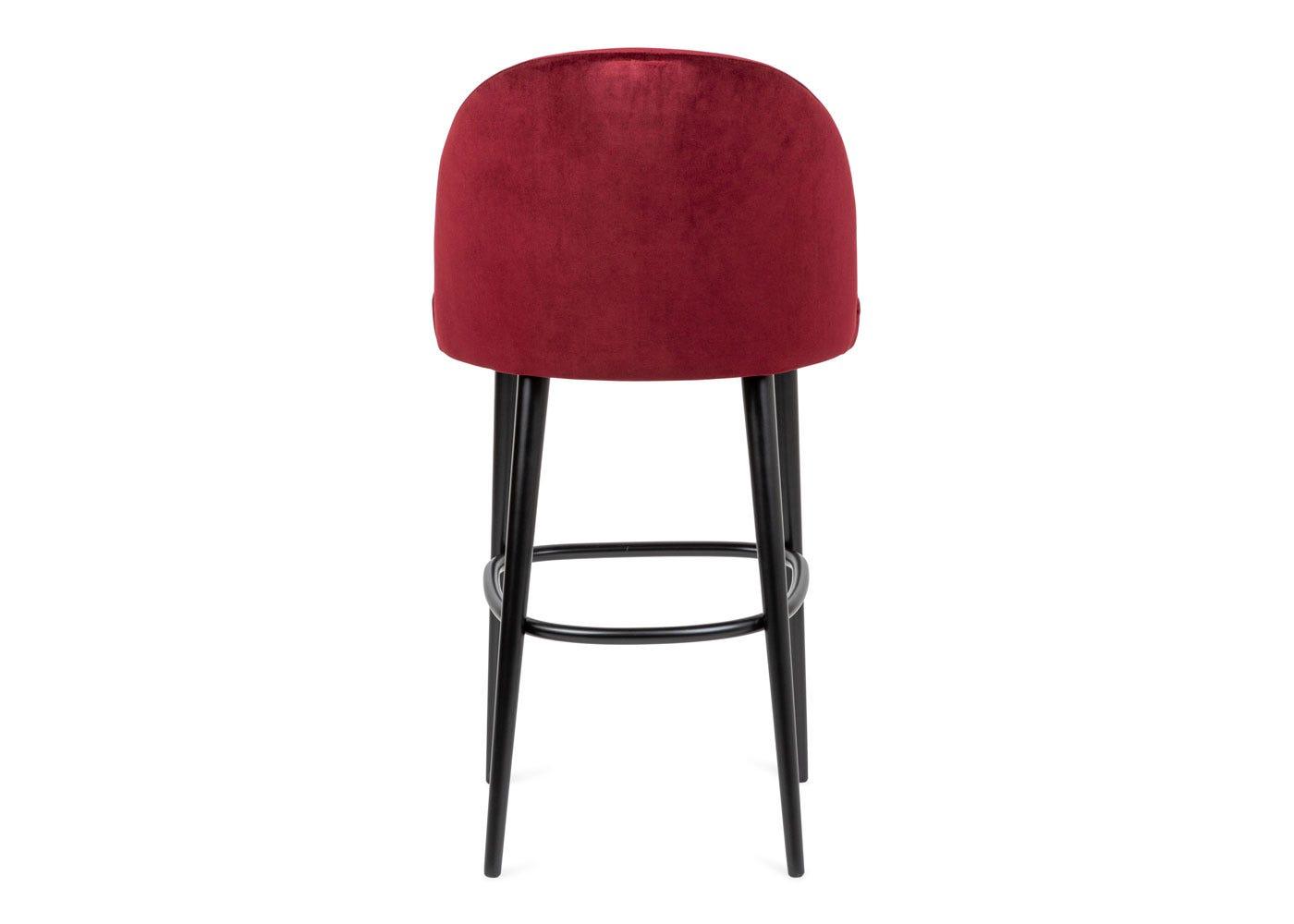 As shown: Austen bar stool plush velvet burgundy black leg - Rear profile.