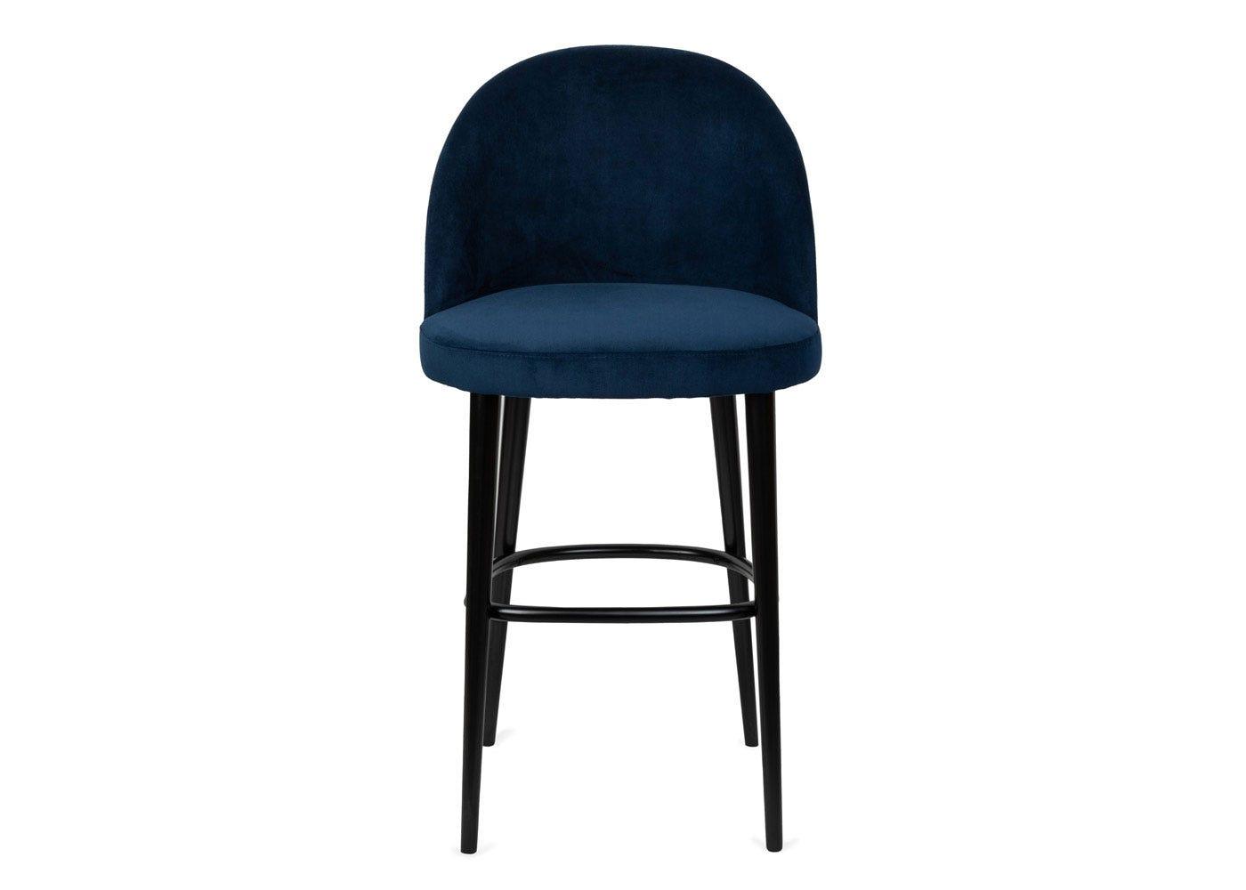 As shown: Austen bar stool plush velvet indigo - Front profile.