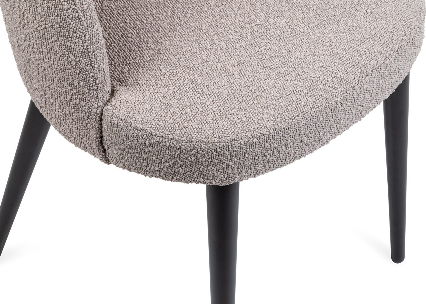As shown: Grey boucle upholstery.
