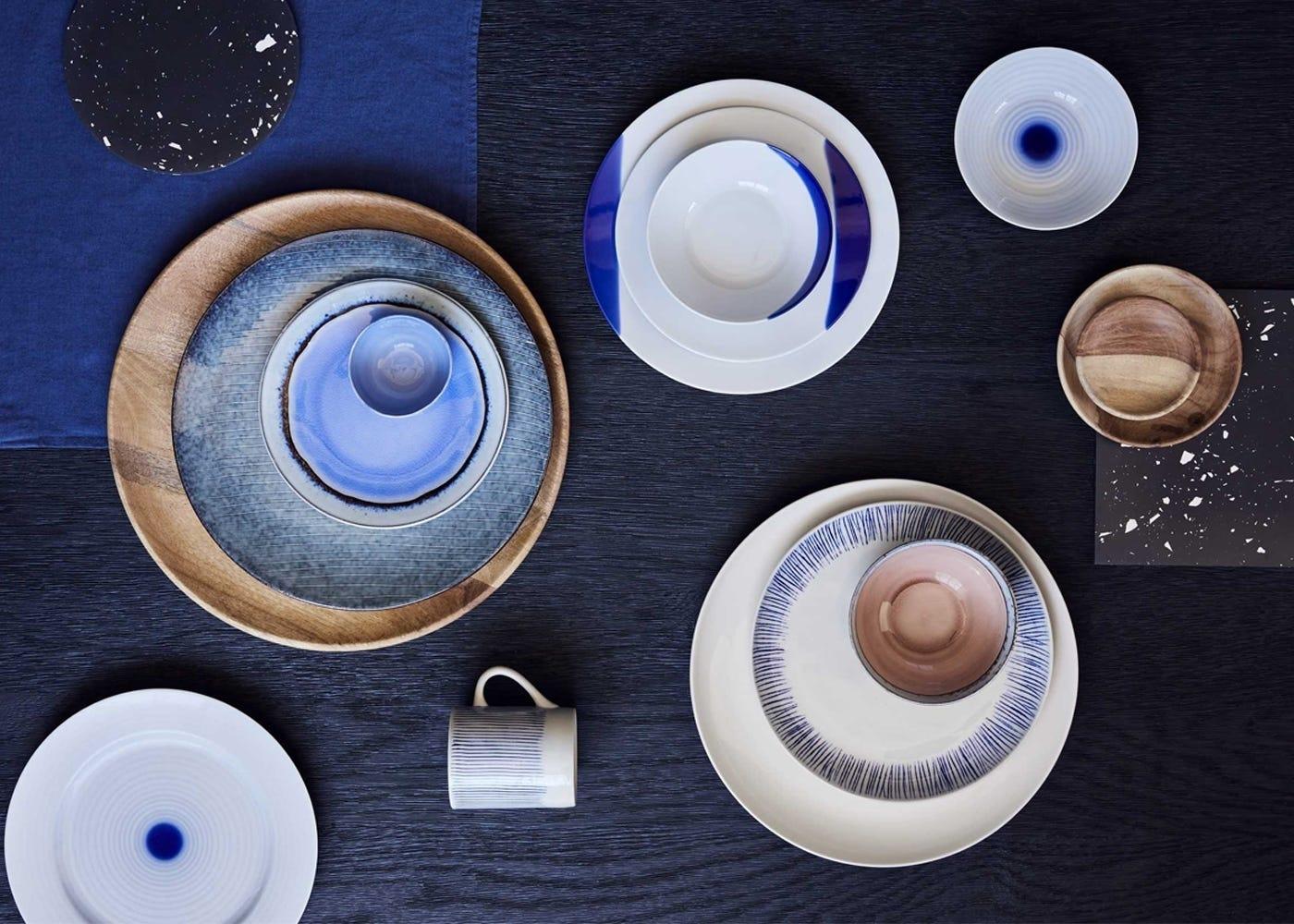 AW17 tableware range featuring ranges; Blue Marble, Dakara, Karuma, Biviri, Spiral, Touch of Blue.