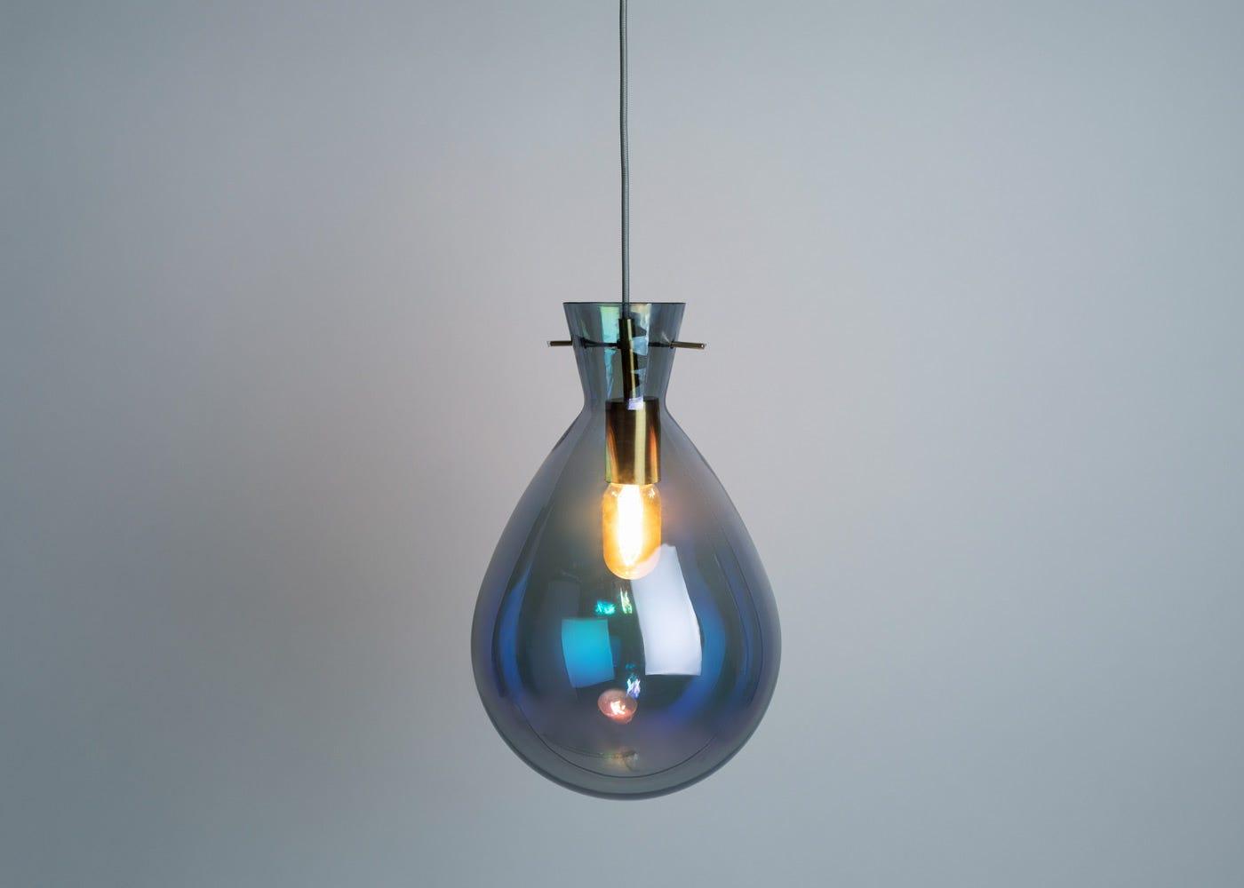 Balloon glass pendant in iridescent smoke - on.