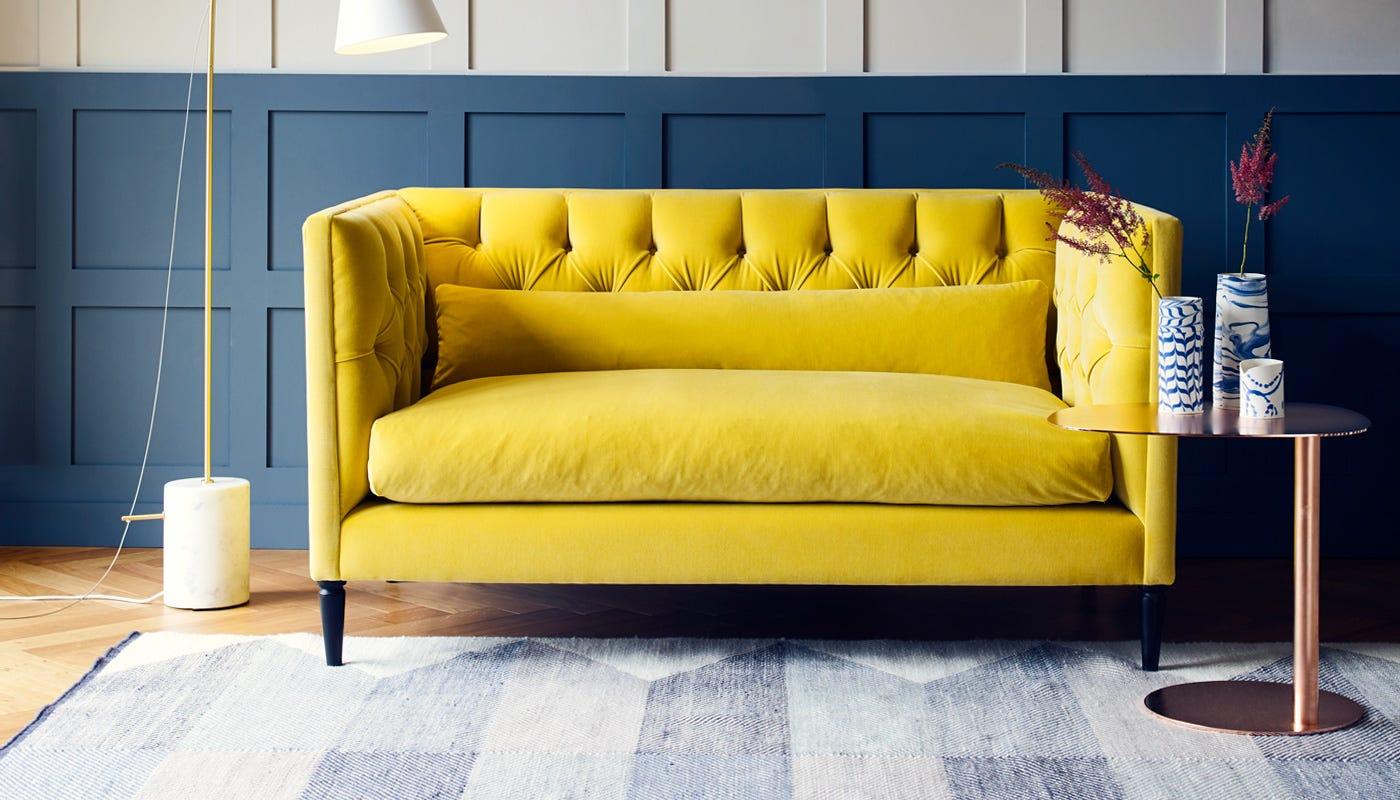 Heal S Balmoral 2 Seater Sofa Heal S ~ Midnight Blue Velvet Sofa
