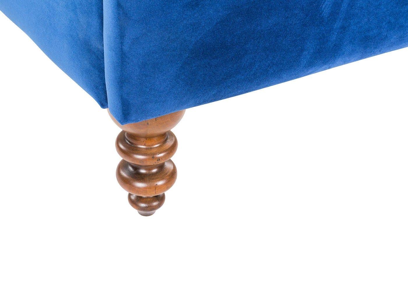 Smart Velvet Blue with turned antique walnut legs