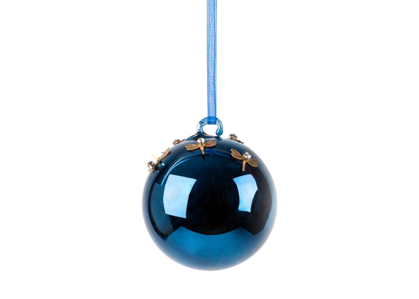 Midnight Dragonfly Ball Medium Decoration 6cm