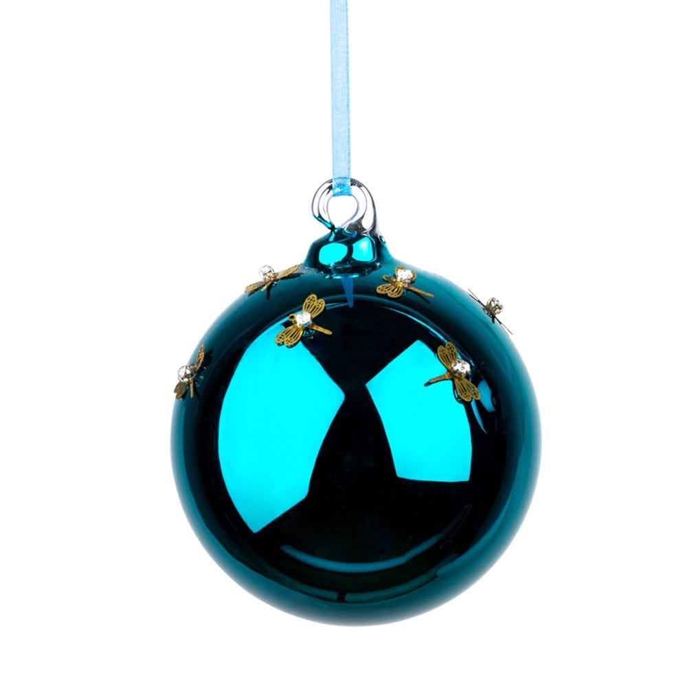 Teal Dragonfly Ball Large Decoration 8cm