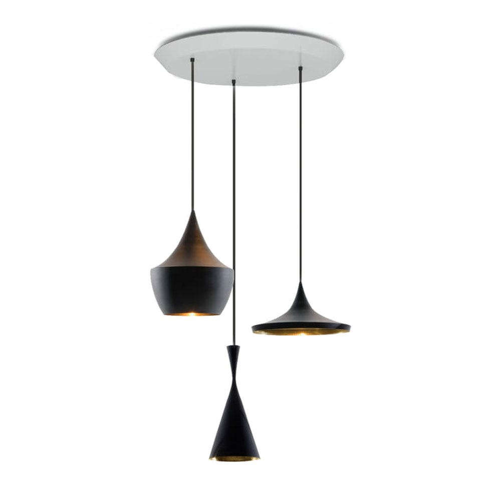Beat LED Round Pendant Light System Black