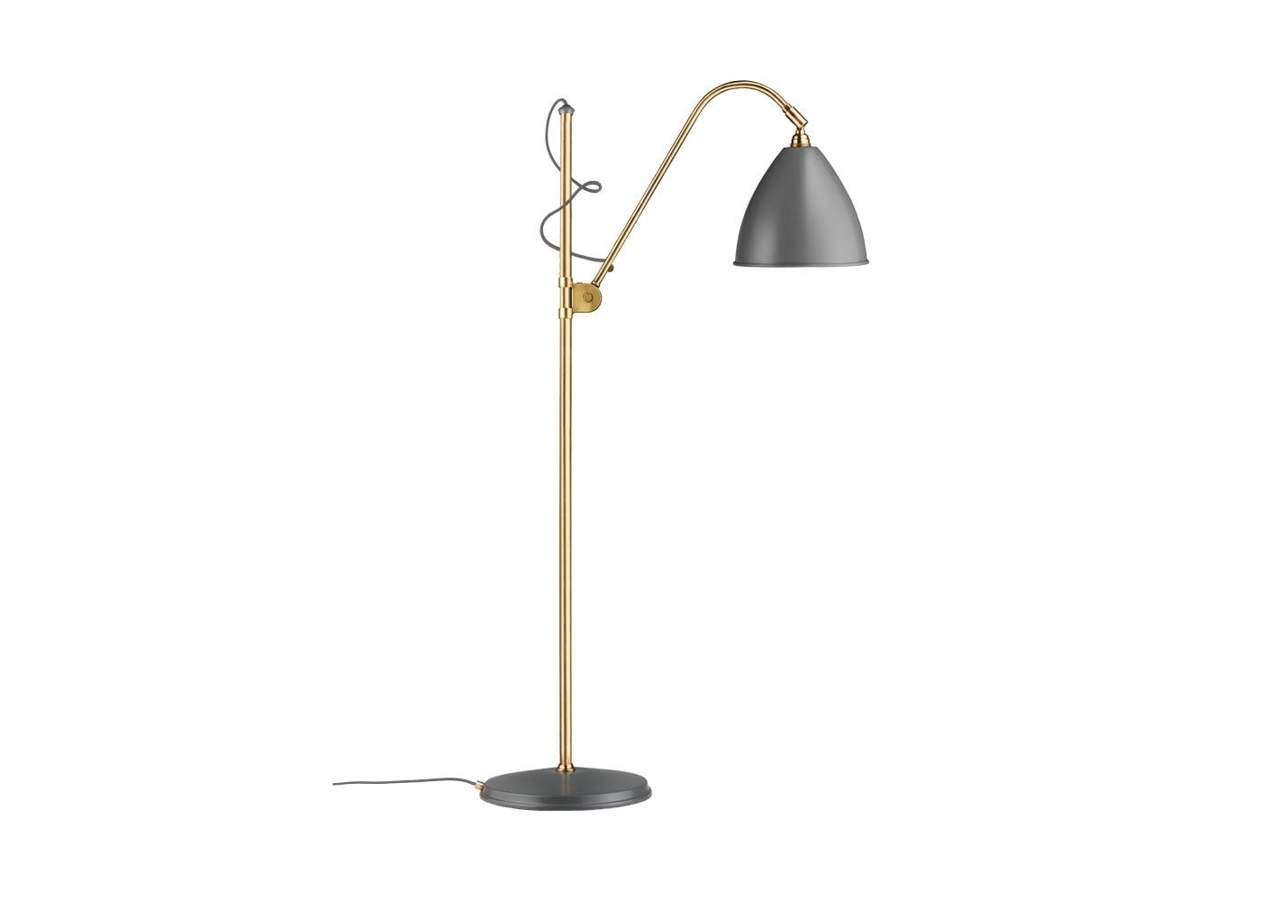 As Shown: BL3 Floor Lamp Brass Base With Grey Shade