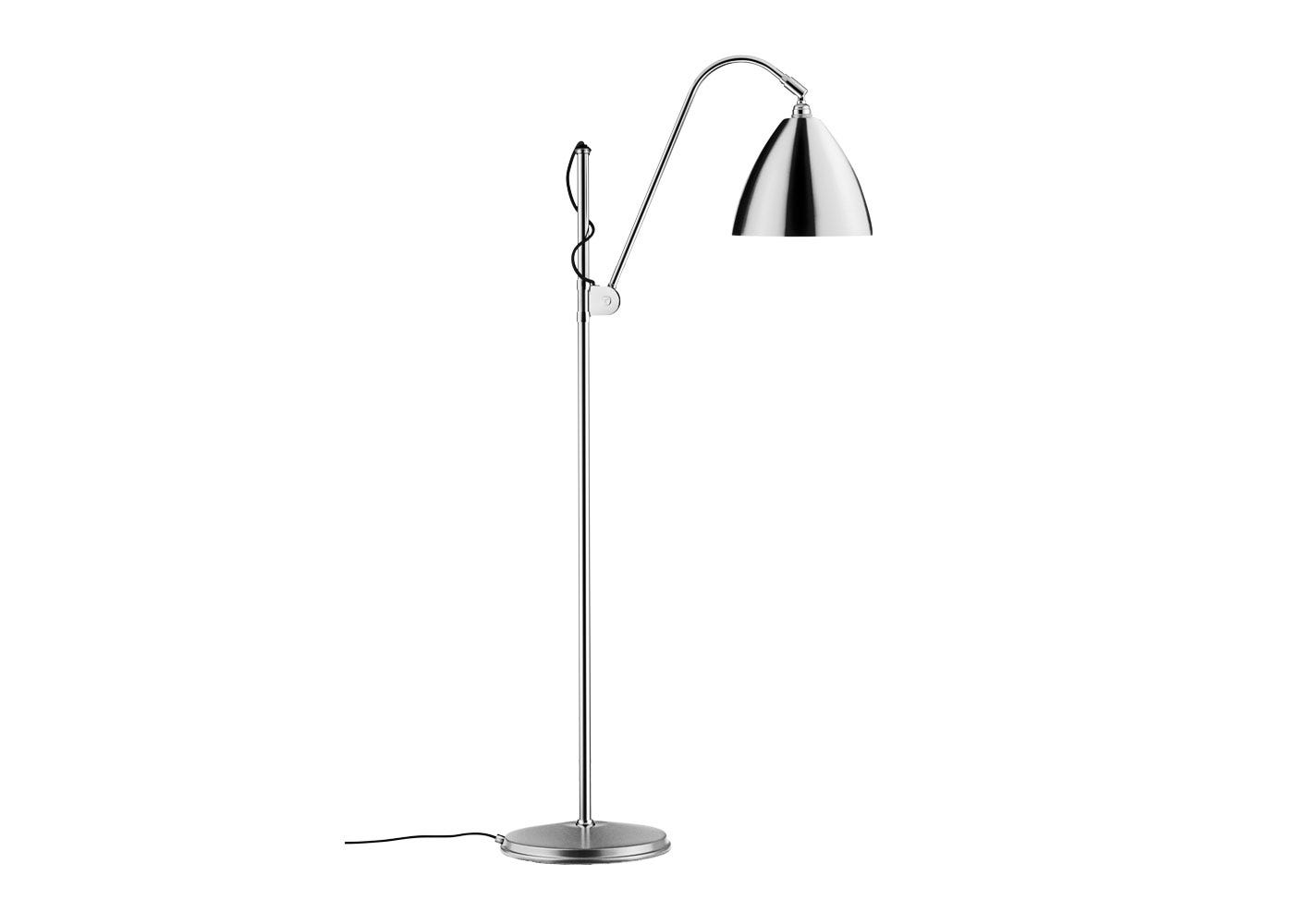 As Shown: BL3 Floor Lamp Chrome Base with Chrome Shade