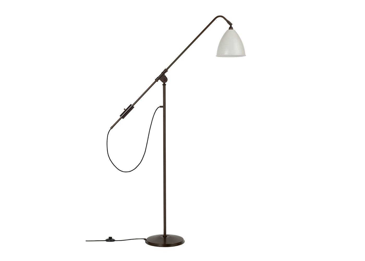 As Shown: BL4 Floor Lamp Black Base Base with White Shade
