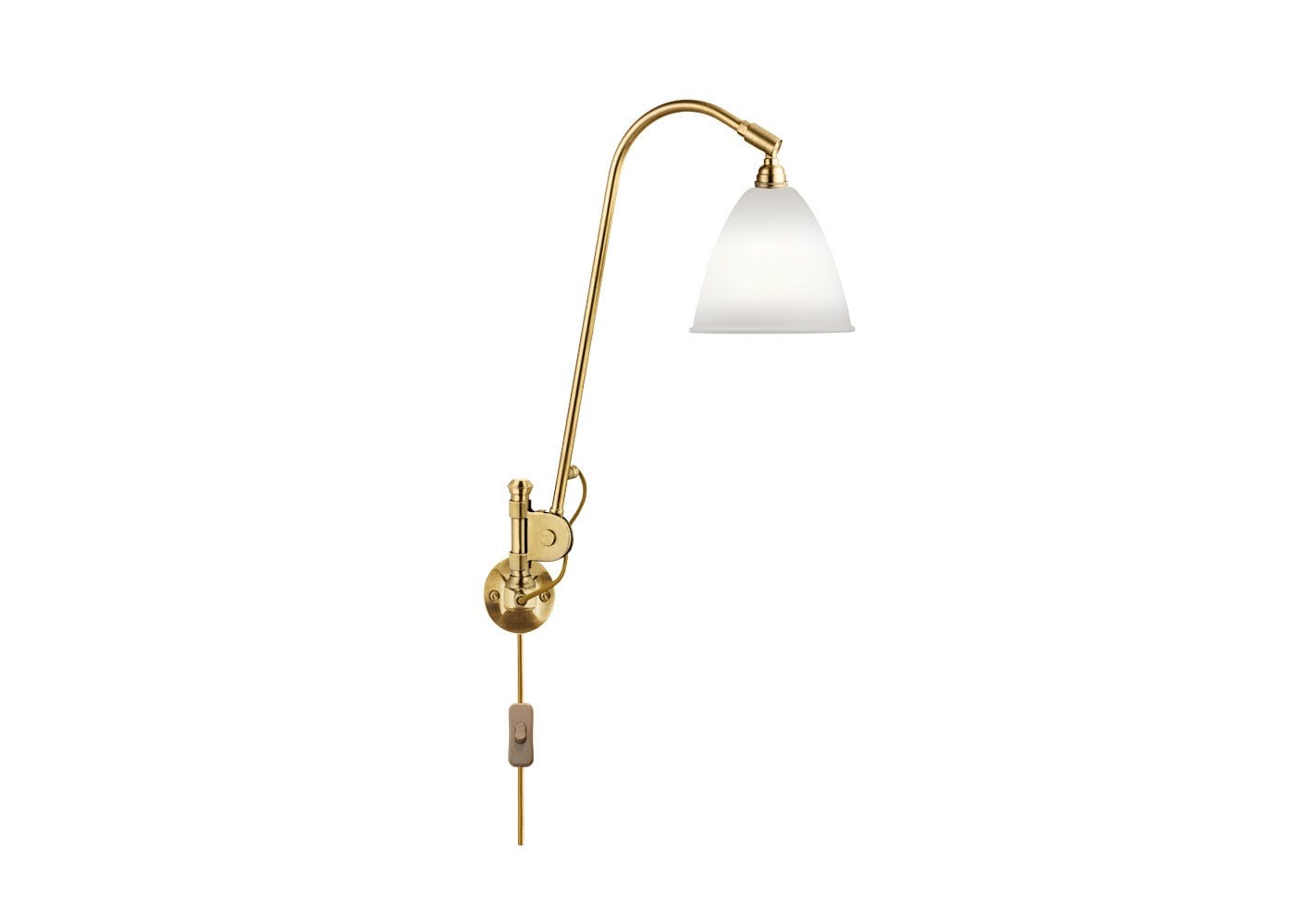 As Shown: BL6 Wall Light Brass Base with Bone China Shade