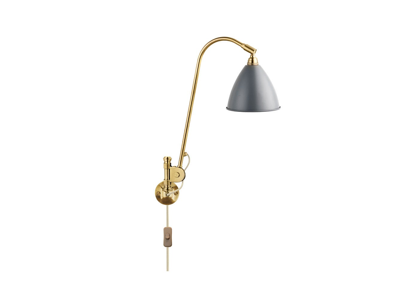 As Shown: BL6 Wall Light Brass Base with Grey Shade