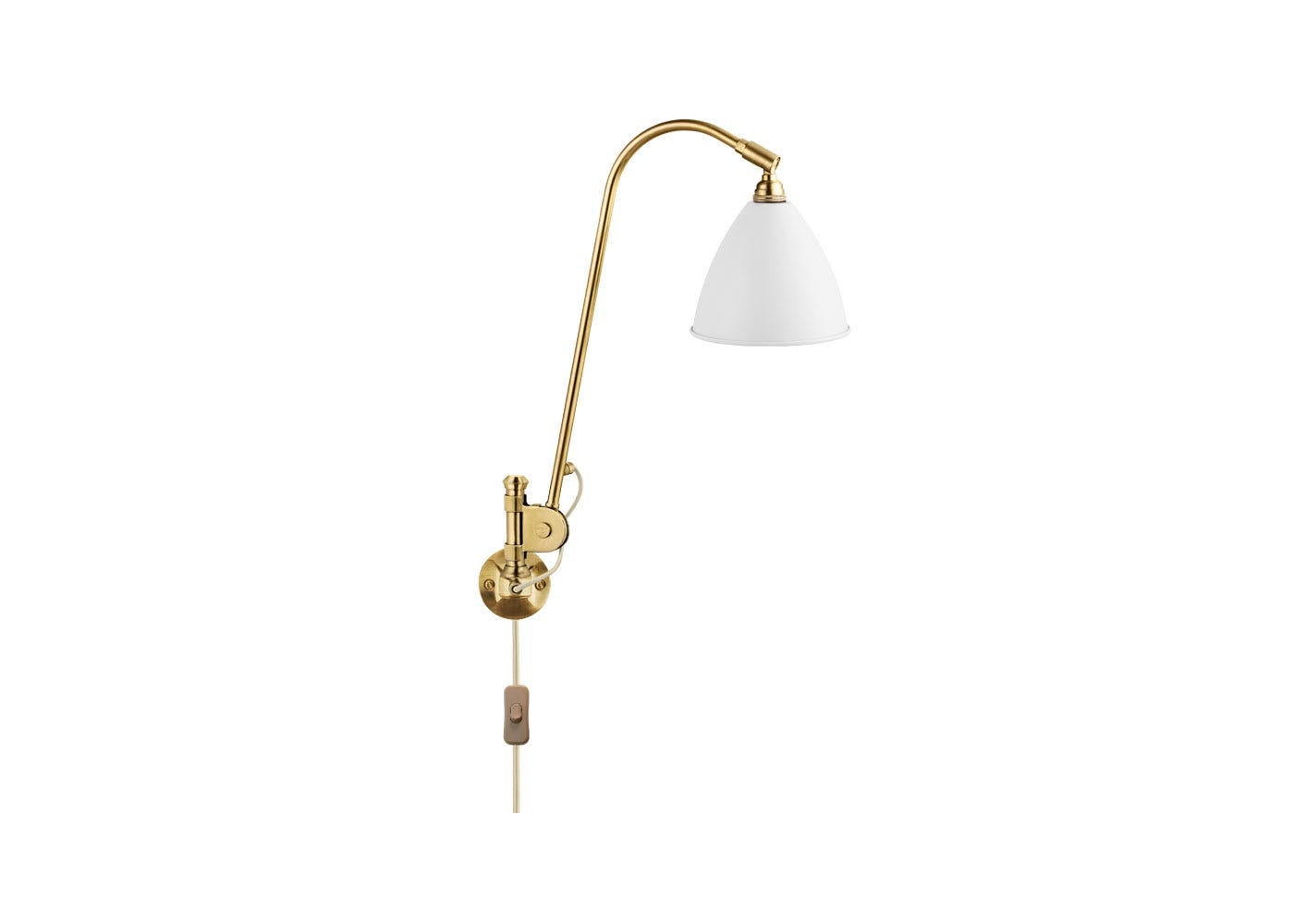 As Shown: BL6 Wall Light Brass Base with White Shade