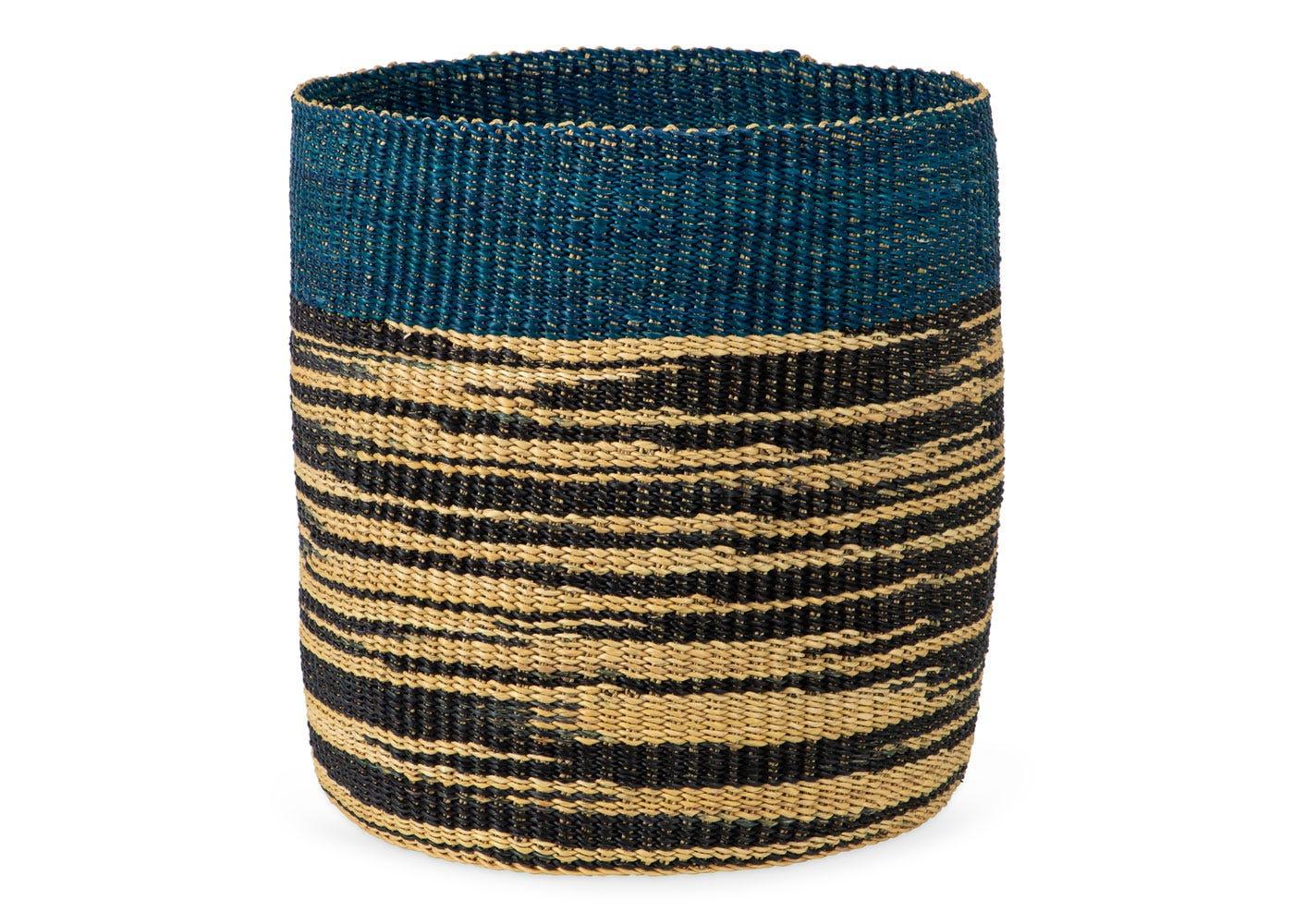 As Shown: Handwoven Storage Basket in Blue