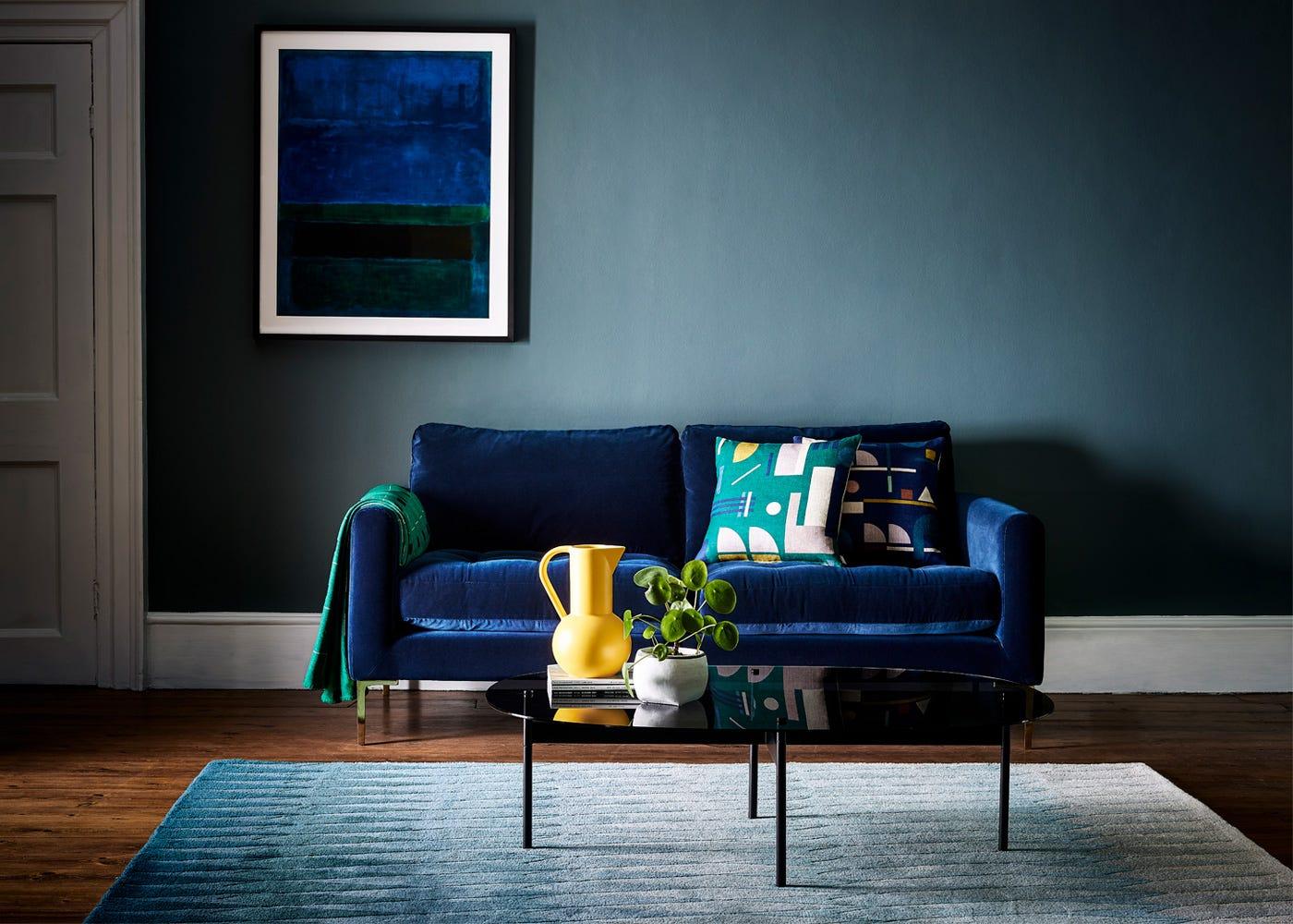 Eton 3 Seater Sofa in Velvet Midnight with Brass legs