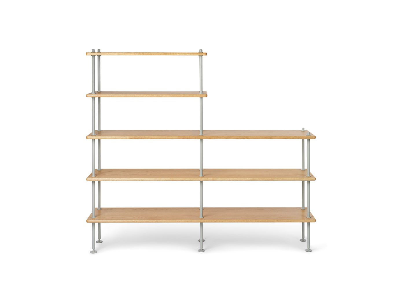 As Shown: BM0253 Shelving System Configuration 2 Oiled Oak and Grey Legs