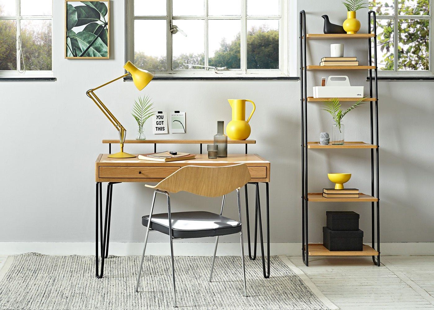 As shown: Bruenl desk light wood, 675 chair, tower shelving unit narrow, anglepoise desk lamp.