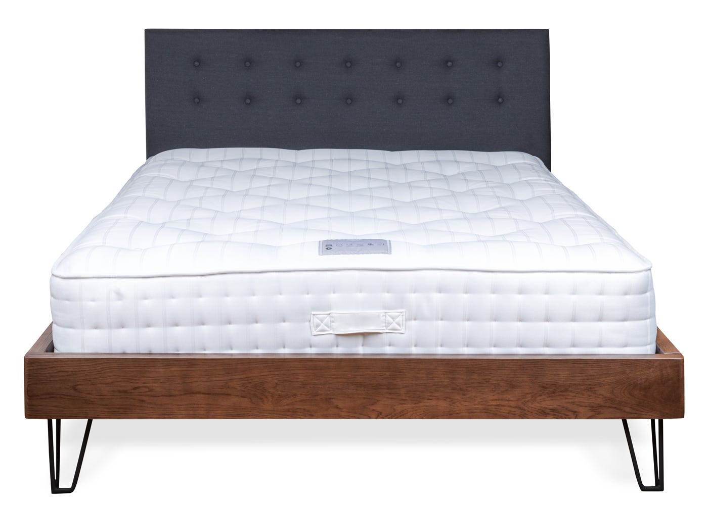 As shown: Brunel Bed Fabric Headboard Grey Dark Wood - Front profile