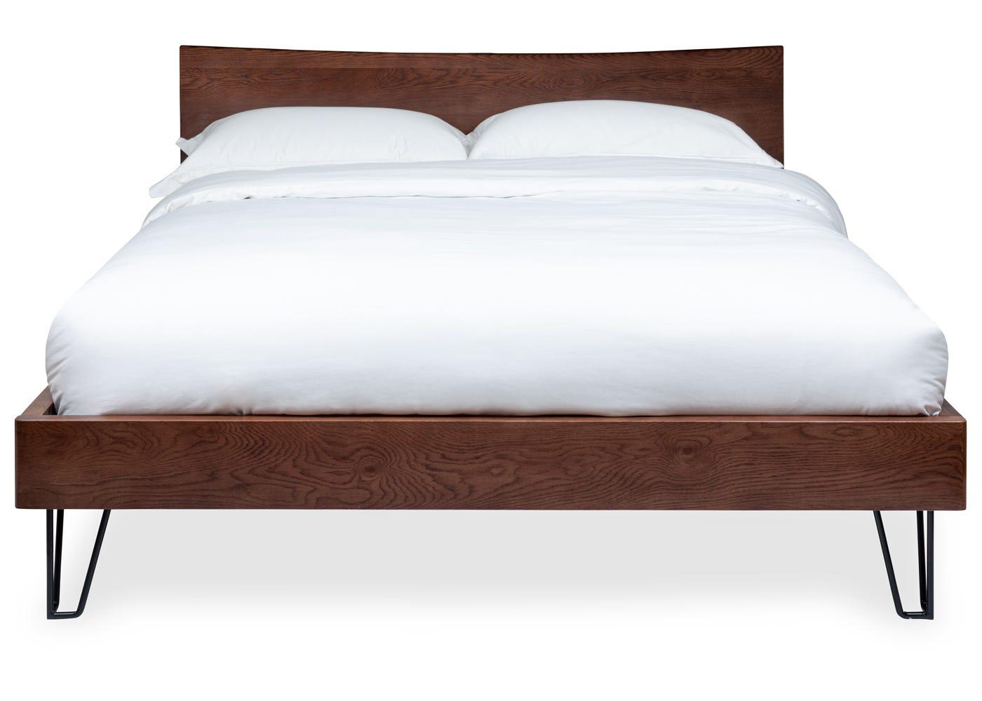 Brunel Bed with Oak Headboard King Dark Wood - Front profile.