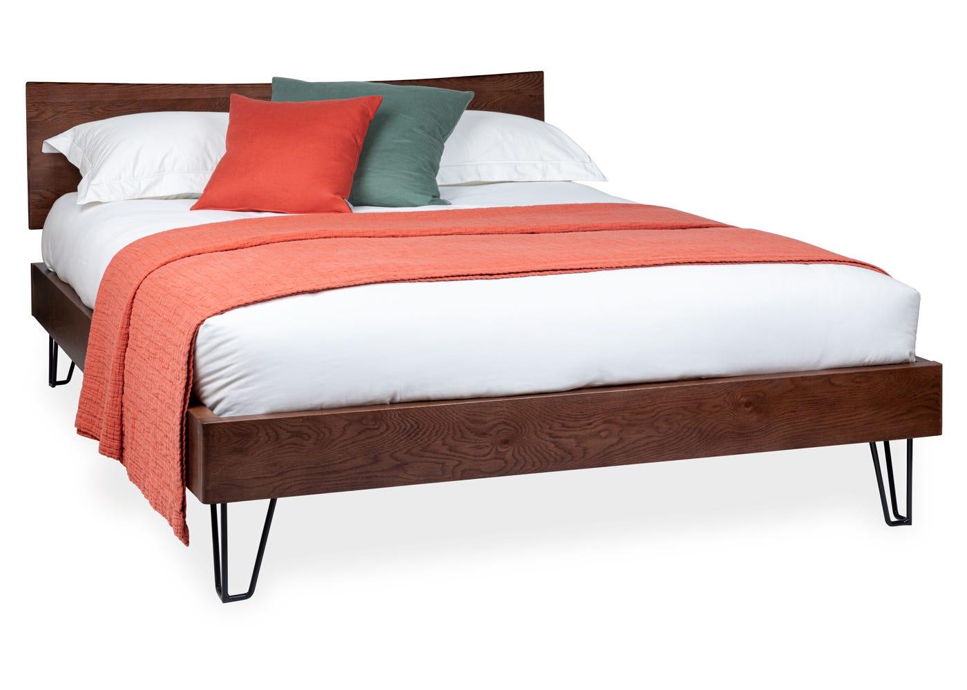 Brunel Bed with Oak Headboard King Dark Wood - Side profile.