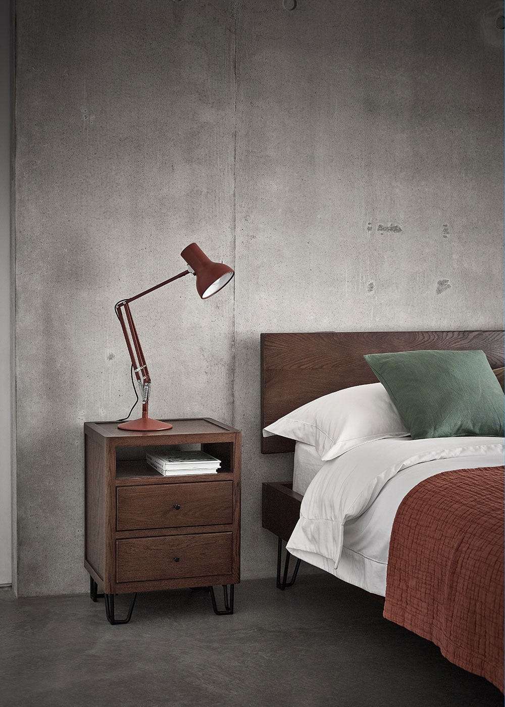 Brunel Bedside Table Dark Wood Lowest Price Guarantee Heal S