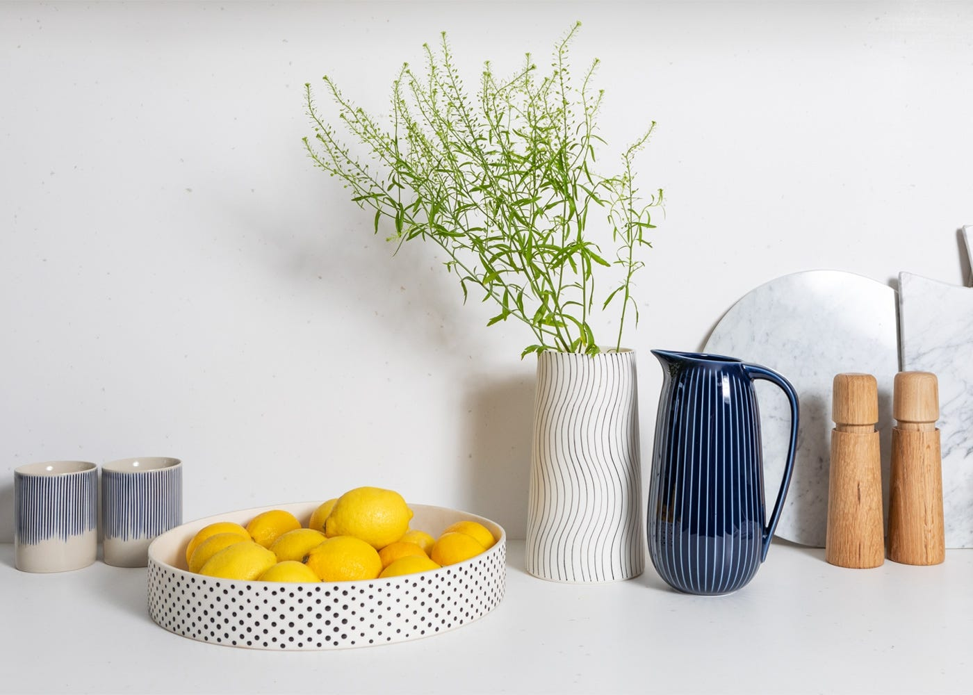 Karuma mugs with the Myer Halliday fruit bowl and Hammershoi jug