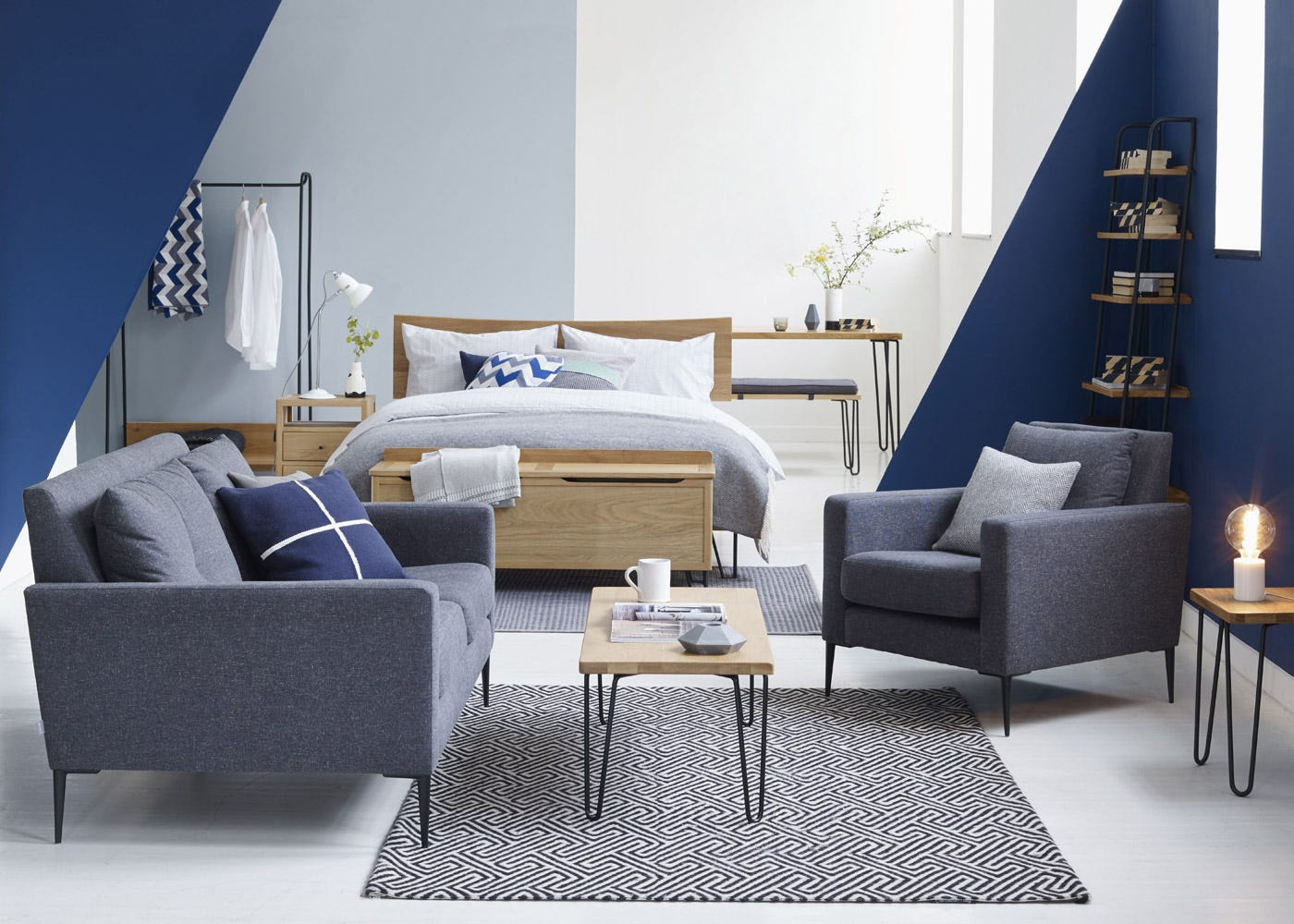 As shown: The Brunel Armchair alongside the 2 Seater Sofa, both in Murcia Grey