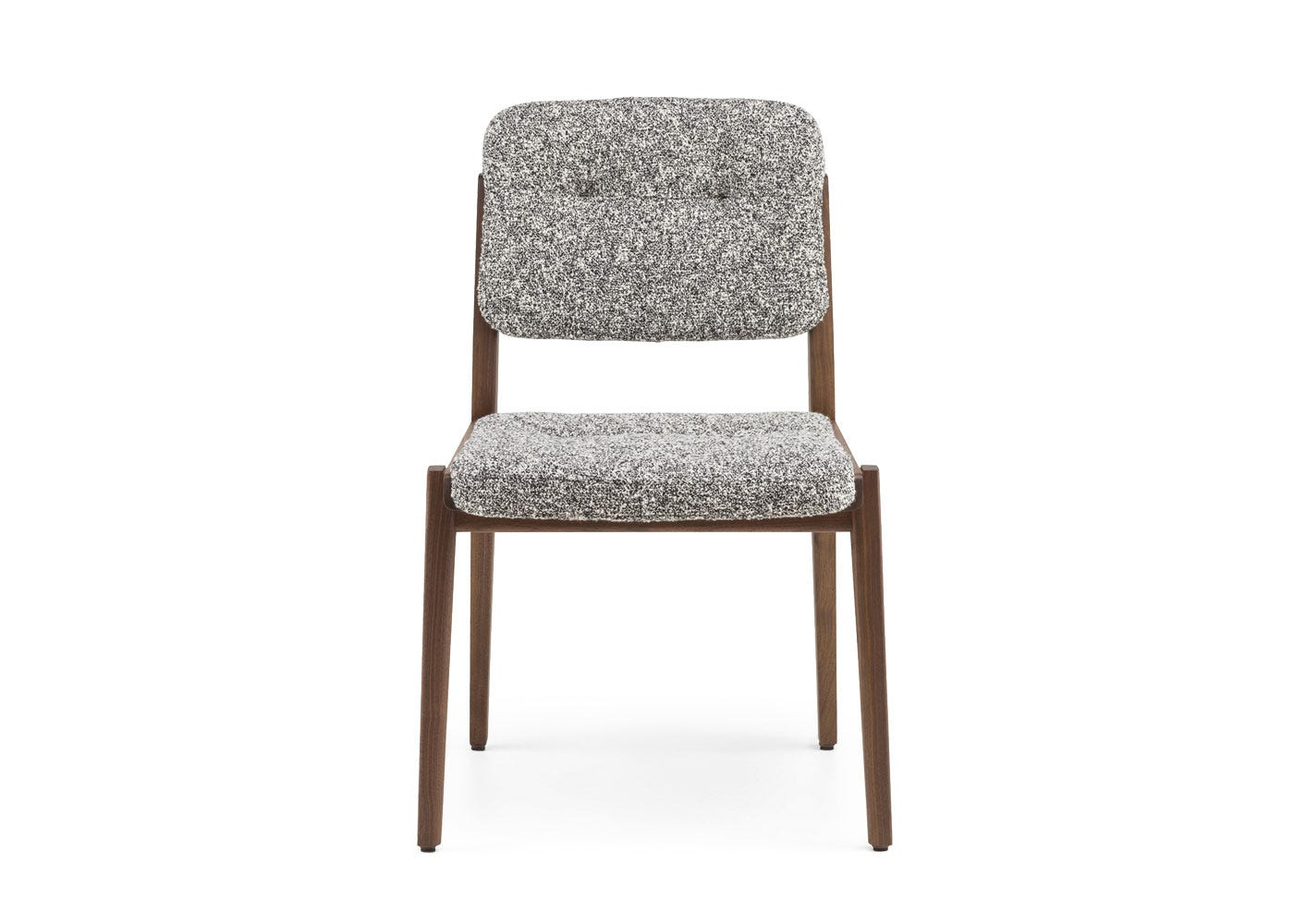 As shown: Capo dining chair danish oiled walnut frame with zero 004 seat pad - Front profile.
