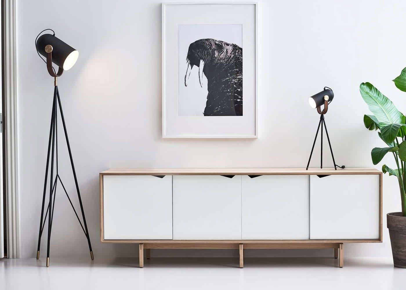 As Shown: Carronade table & floor lamp in black.