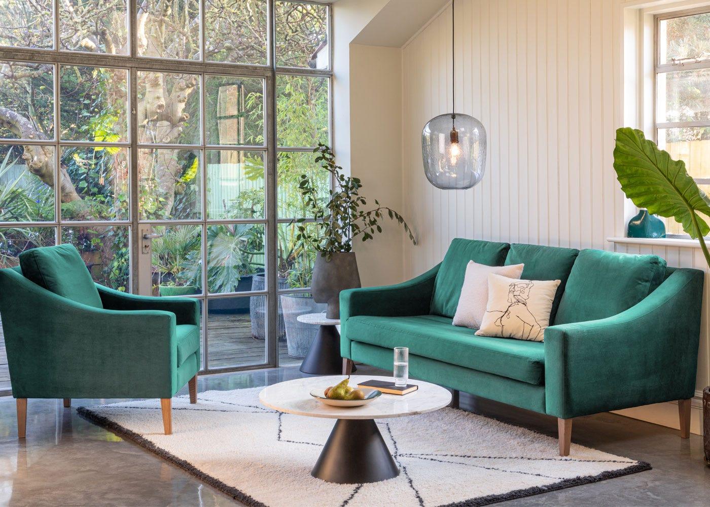 Cezanne Circular Coffee Table Marble. Richmond 3 seater sofa