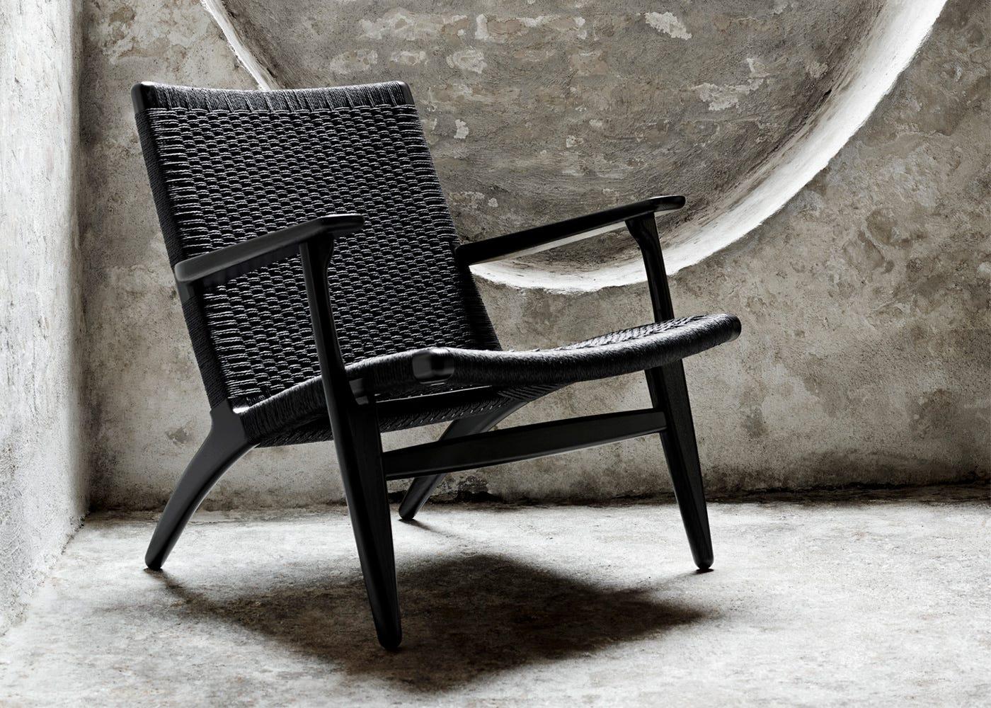 CH25 armchair Oak painted black / Black cord
