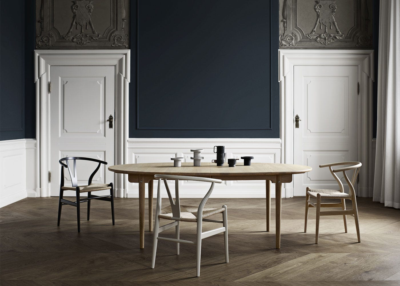 As shown: CH338 extending dining table soaped oak finish, CH24 wishbone dining chairs.