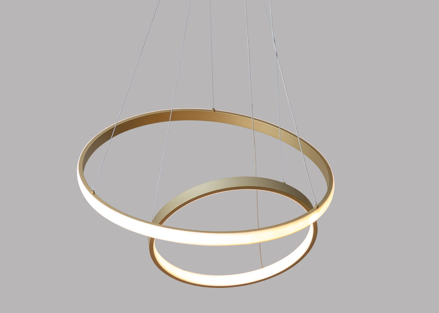 As shown: Circa LED pendant satin gold - On.