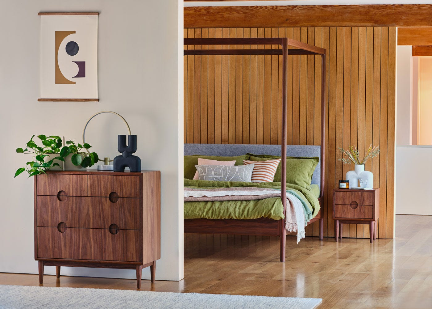 As shown: Circa LED table lamp satin gold, Marlow bed, Marano chest of drawers.