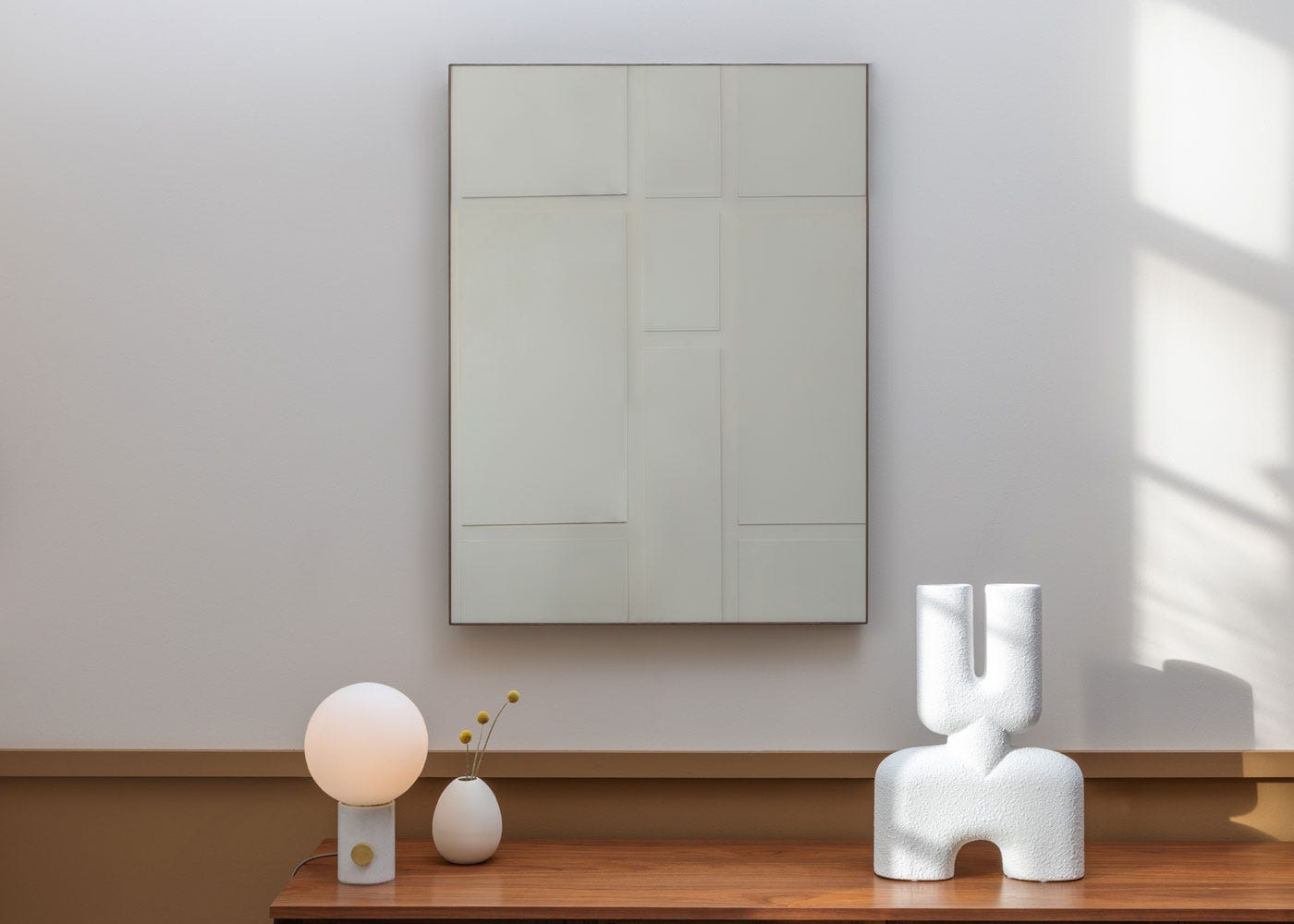 As shown: Column table lamp white marble.