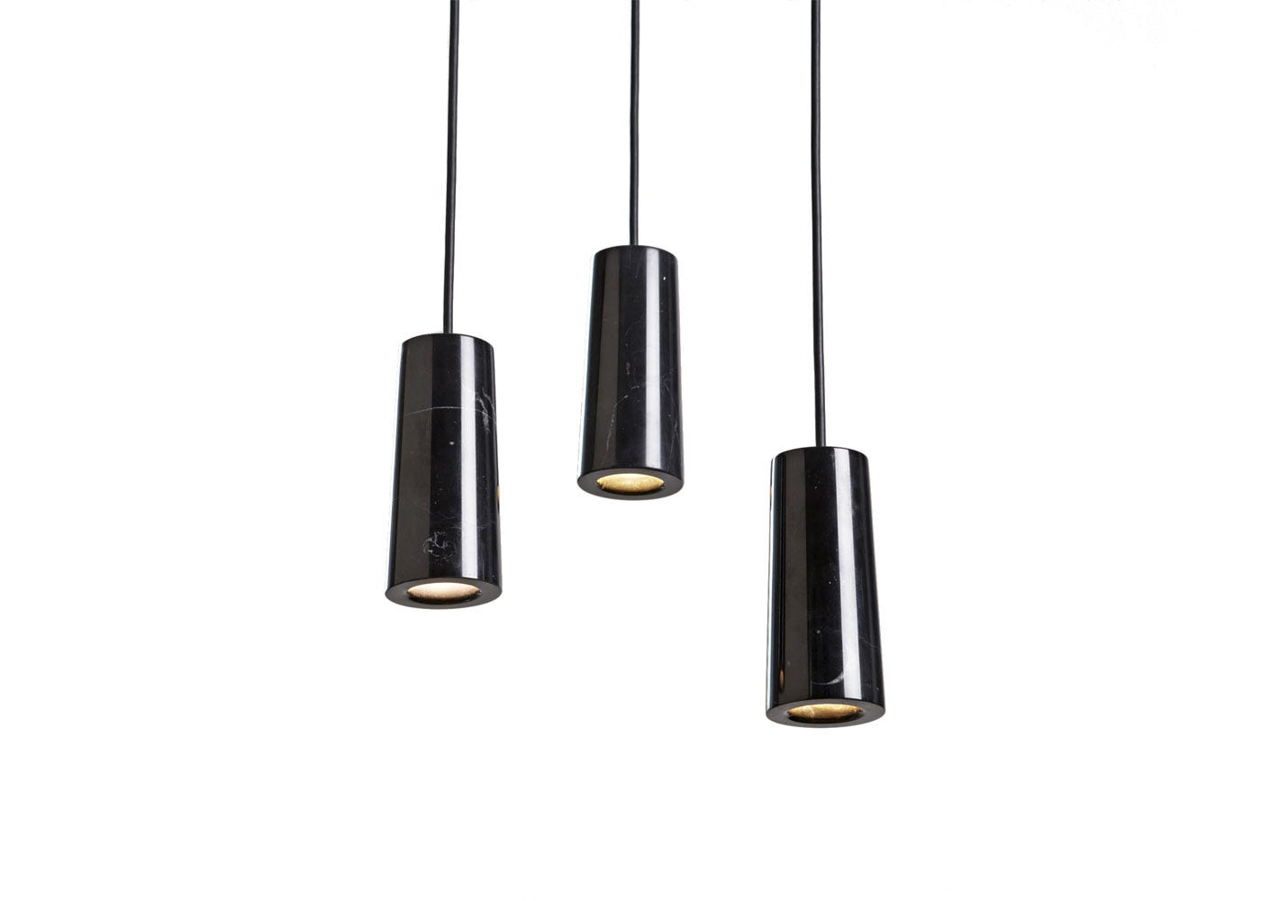 As Shown: Core Three Pendant Light Cluster in Nero Marquina Marble