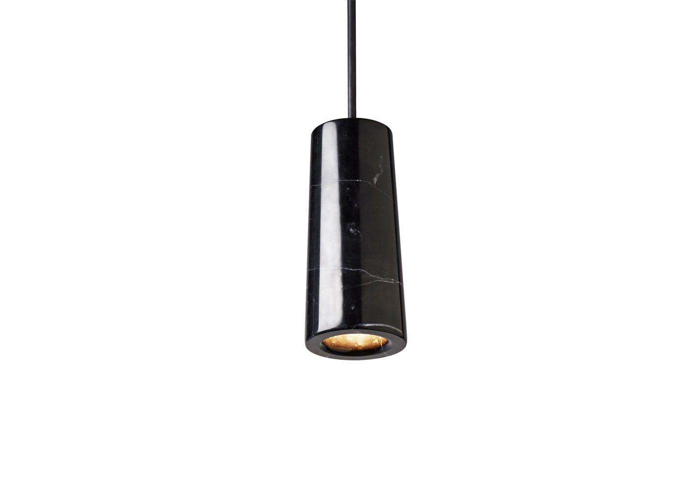 As shown: Core single pendant light - nero marquina marble.