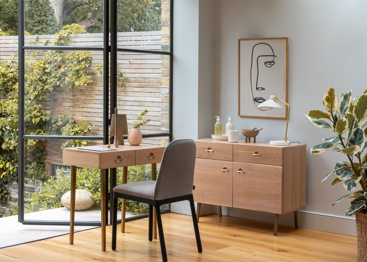 Milton cream table lamp, Ellie velvet dining chair in taupe, Crawford small sideboard, .