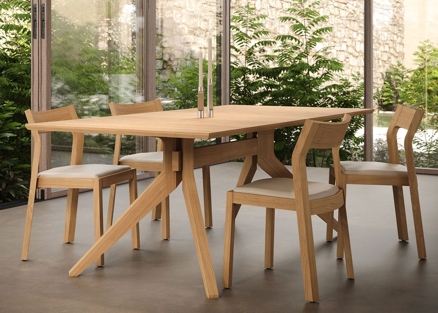 Cross fixed dining table in oak paired with profile chairs.