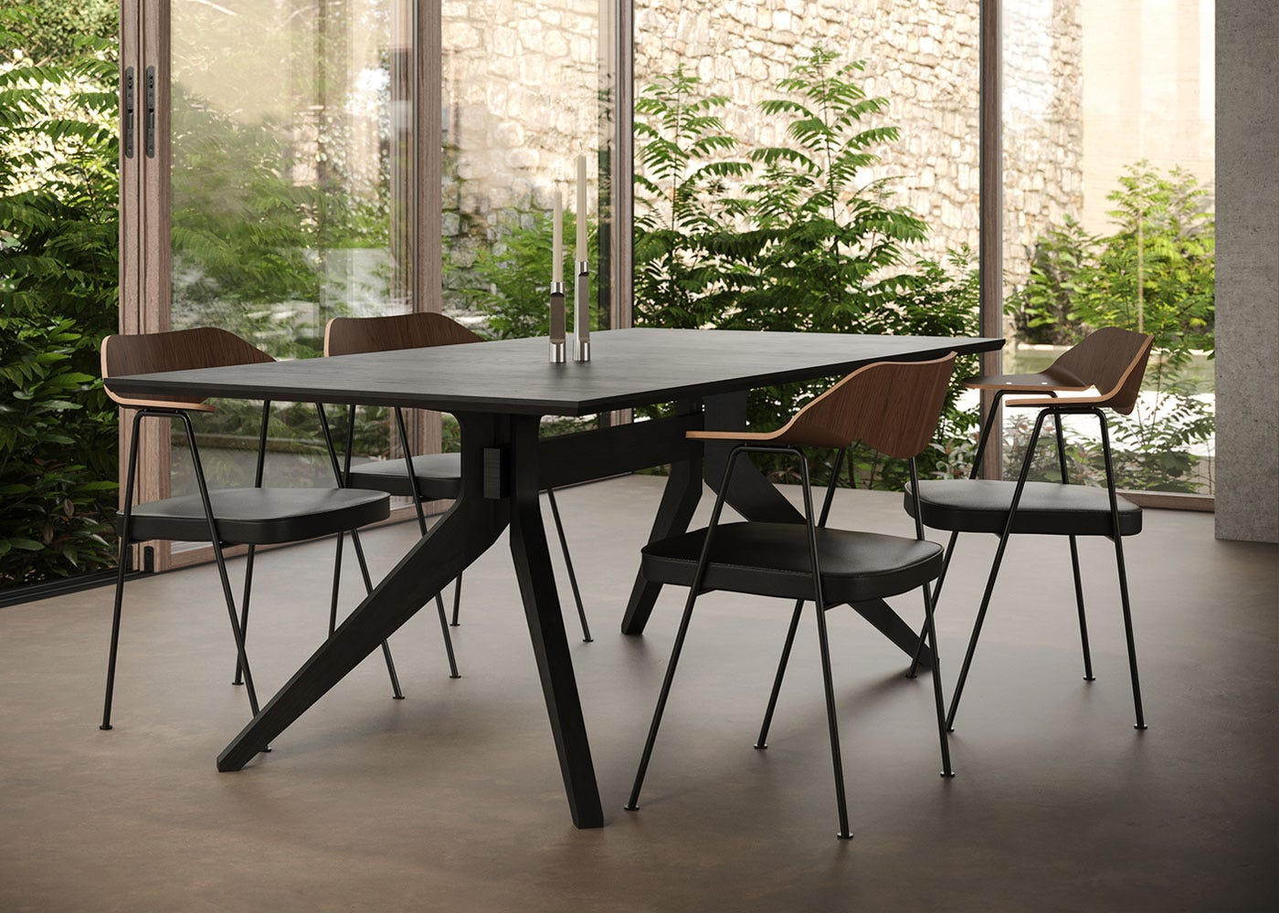Cross fixed dining table in walnut paired with 675 chairs.