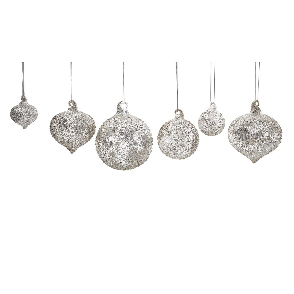 Crushed Silver Beaded Bauble Decoration