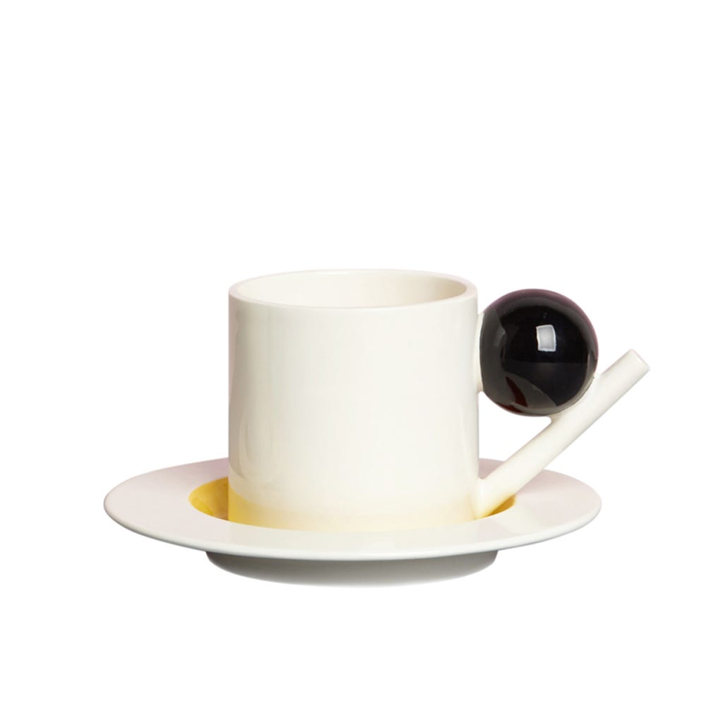 Design K Circle Cup and Saucer with Black Ball