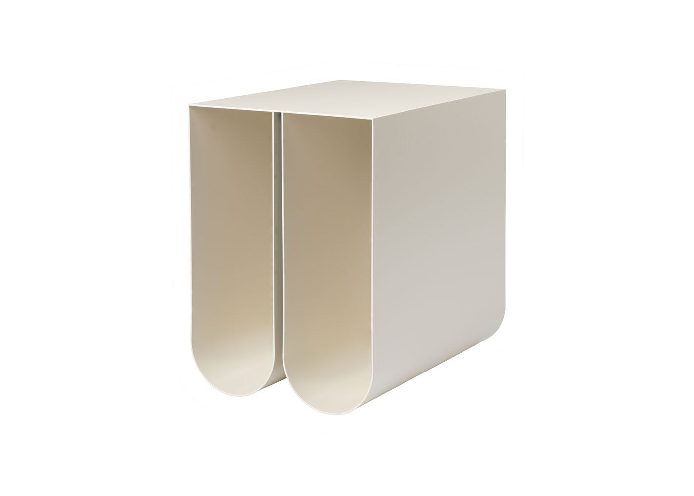 As Shown: Curved Side Table in Cream