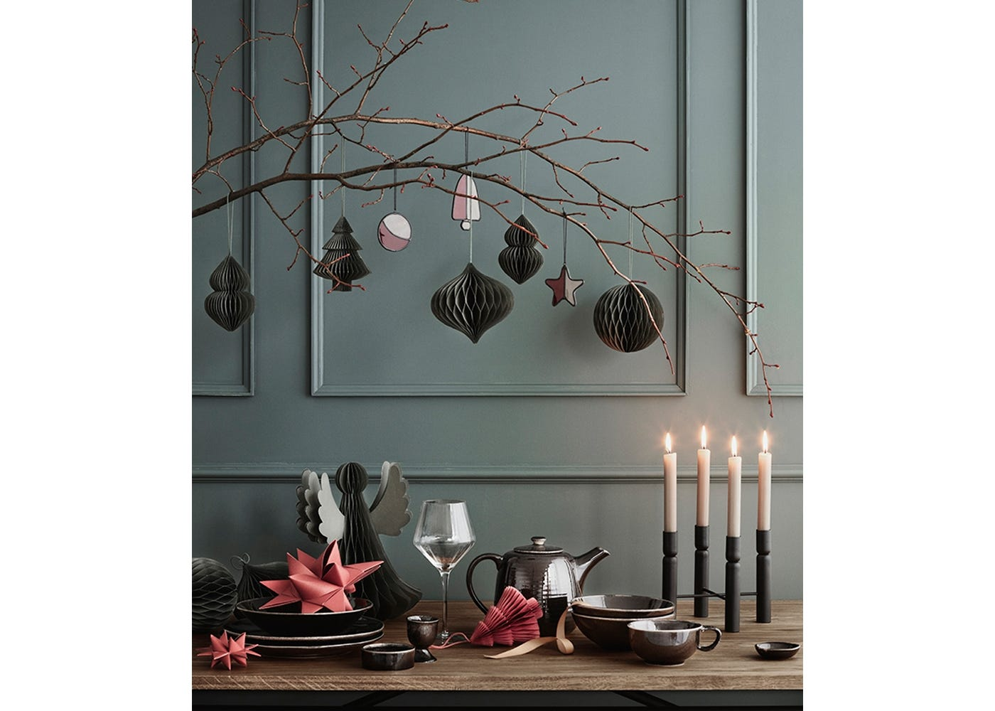 Deko Decorations in Red and Thyme. Use for a size reference