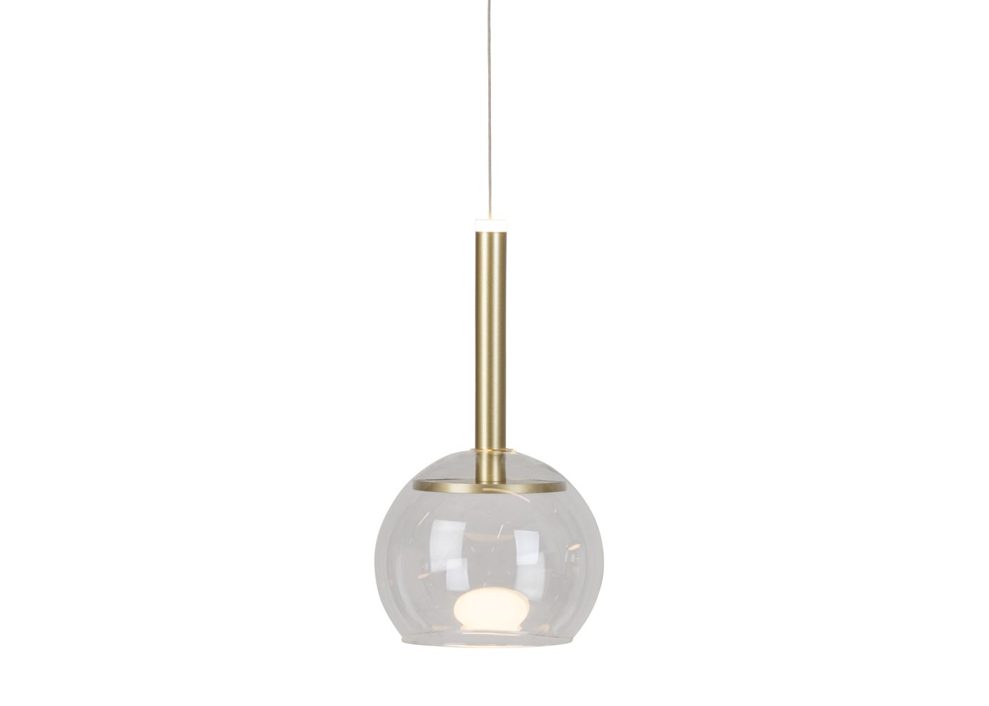 Clear glass shade with disc long LED pendant in gold off (please note the pendant is sold separately).