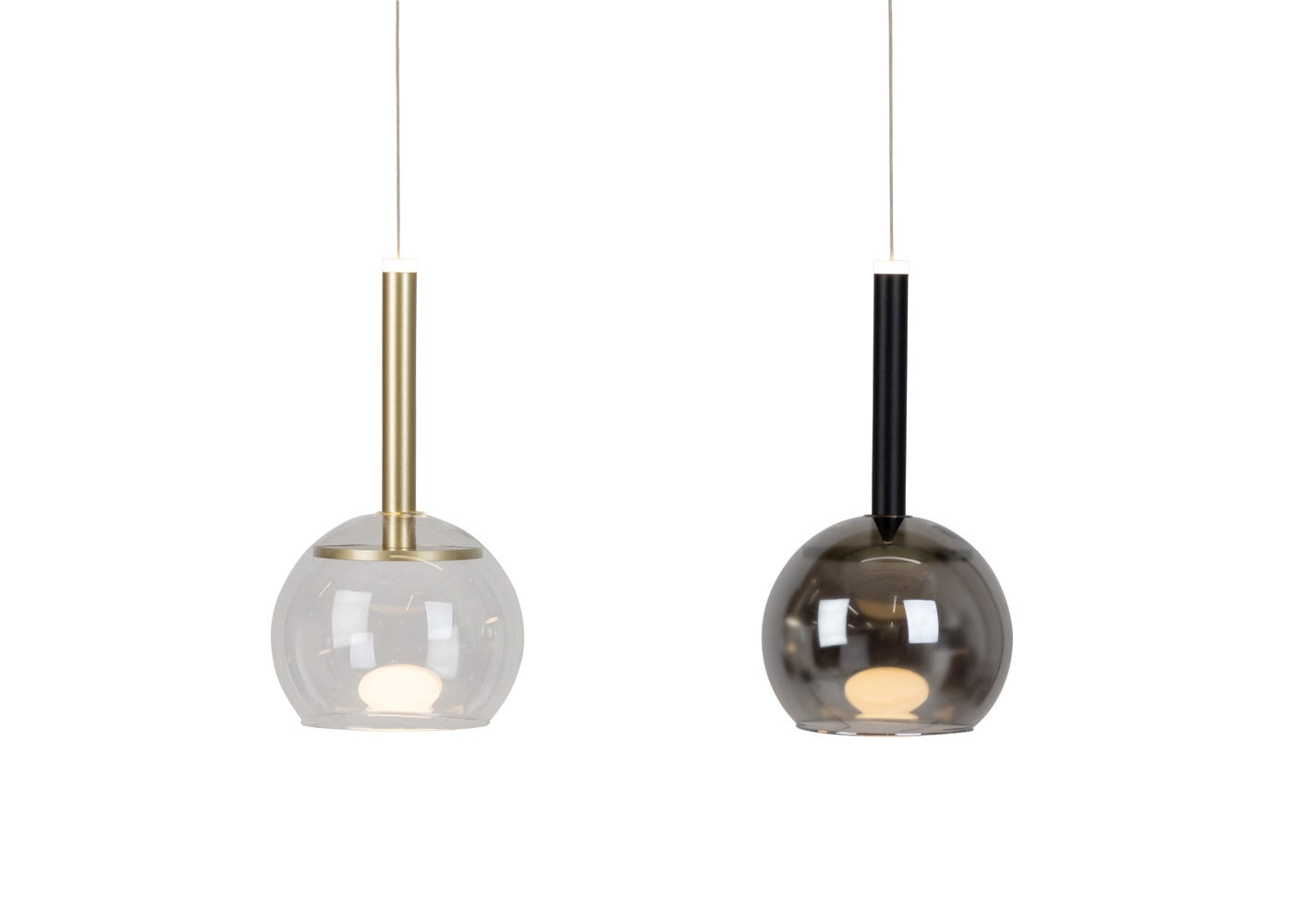 Disc LED Pendant light gold with clear shade & black with smoke shade.