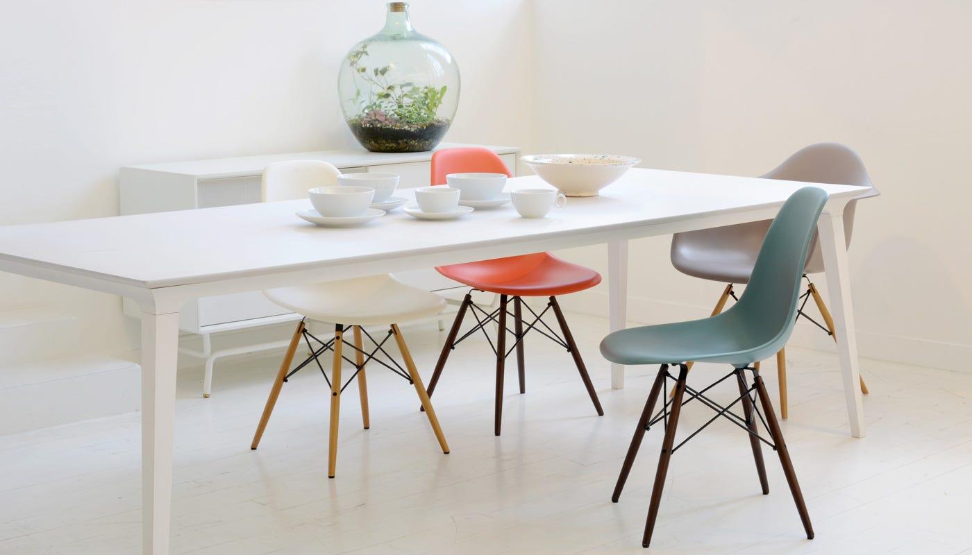 Vitra Eames Dsw Chair Mauve Grey Maple Black Legs