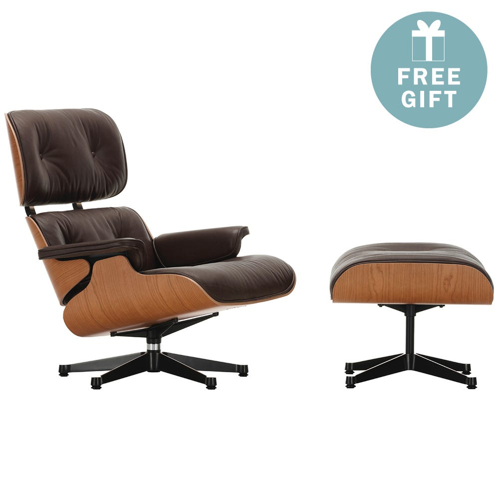 Eames Lounge Chair & Ottoman New Dims A. Cherry Polished with Black Leather Natural Chocolate
