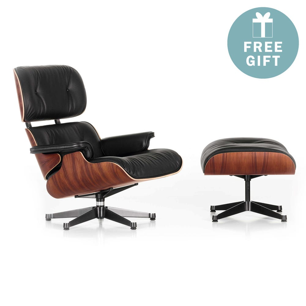 Eames Lounge Chair & Ottoman New Dims Santos Palisander Polished with Black L.Premium Nero