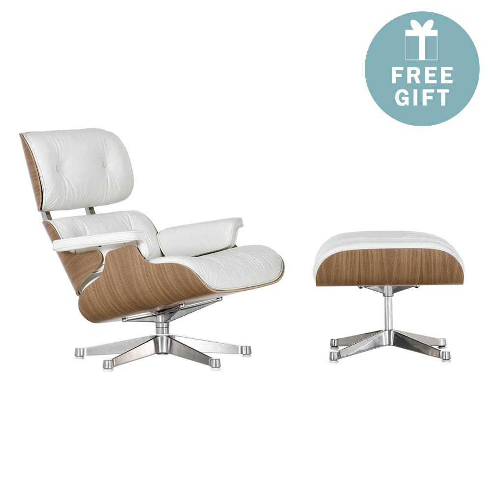 Eames Lounge Chair & Ottoman New Dims White Pig. Walnut Polished Aluminium L.Grand Snow