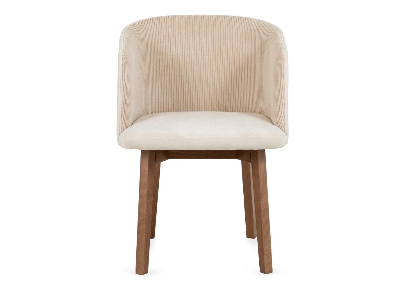 Edit chair cord cream walnut stain leg - Front profile.